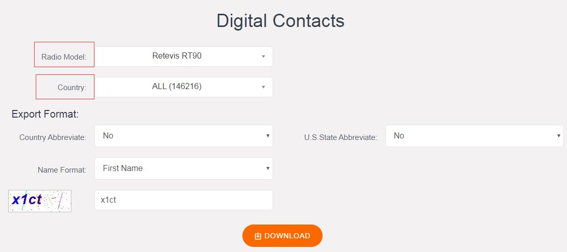 How to display DMR contacts on Retevis RT90 Ailunce