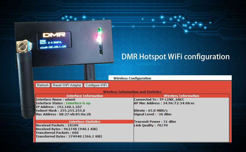 WiFi configuration for MMDVM/Pi-star Simplex Hotspot Ailunce